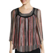 Alyx® Long-Sleeve Lace-Yoke Top
