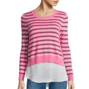 I 'Heart' Ronson® Long-Sleeve Striped Layered Sweater