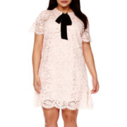 BELLE + SKY™ Short-Sleeve Lace Bow Dress - Plus