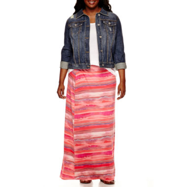 jcpenney.com | a.n.a® Denim Jacket, Lace-Inset T-Shirt or Wide-Waistband Maxi Skirt - Plus
