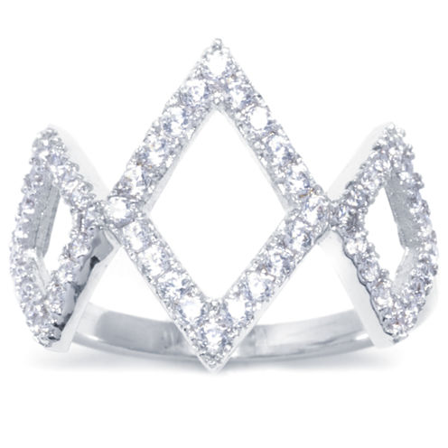 Sparkle Allure Womens White Cubic Zirconia Brass Band
