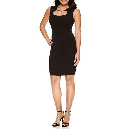 Bisou Bisou® Sleeveless Dress with Metallic Neck Embellishment
