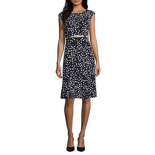 Connected Apparel Cap Sleeve Fit & Flare Dress