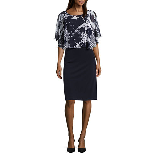 Connected Apparel Flutter Sleeve Sheath Dress