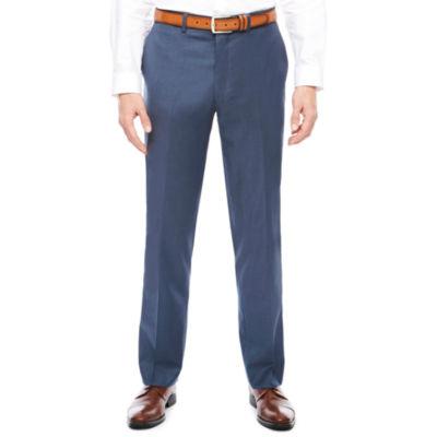 Men's J.Ferrar Stretch Blue Sheen Sharkskin Flat-Front Slim-Fit Suit Pants
