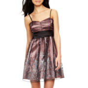 Trixxi® Double-Border Glitter Mesh Dress