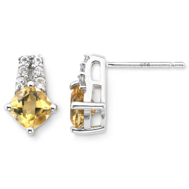jcpenney.com | Sterling Silver Genuine Citrine & Lab-Created White Sapphire Earrings