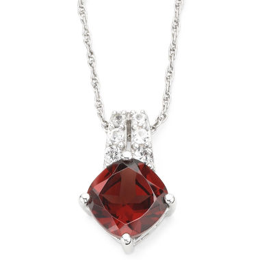 jcpenney.com | Genuine Garnet & Lab-Created White Sapphire Pendant Sterling Silver Necklace