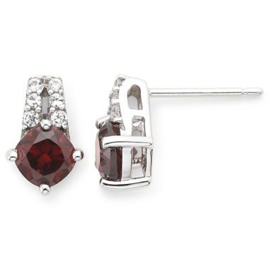 jcpenney.com | Sterling Silver Genuine Garnet & Lab-Created White Sapphire Earrings