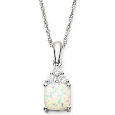 jcpenney.com | Lab-Created Opal & White Sapphire Pendant Sterling Silver Necklace
