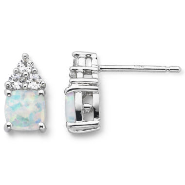 jcpenney.com | Sterling Silver Lab-Created Opal & White Sapphire Earrings