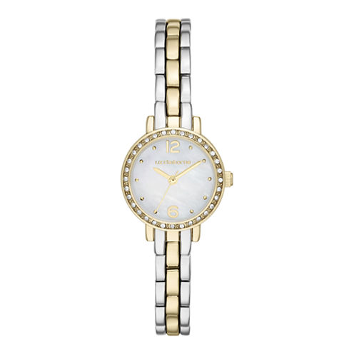 Liz Claiborne® Womens Round Face Mini Glitz Watch