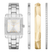 Liz Claiborne® Womens Square Crystal Accent Bangle Watch Set