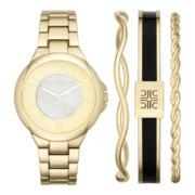 Liz Claiborne® Womens Round Watch & Bangle Set
