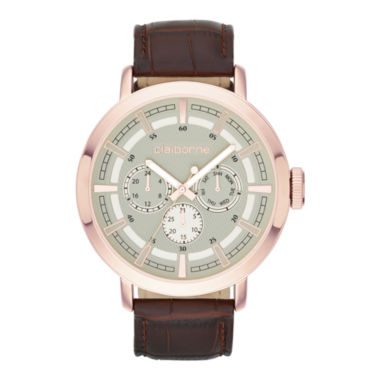 jcpenney.com | Claiborne® Mens Rose-Tone Leather Strap Multifunction Watch