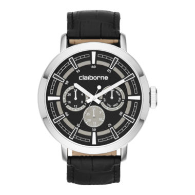 jcpenney.com | Claiborne® Mens Black Leather Strap Multifunction Watch