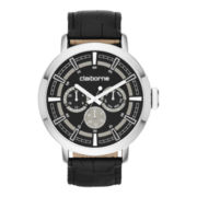 Claiborne® Mens Black Leather Strap Multifunction Watch