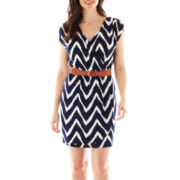 Corey Paige Belted Chevron Wrap Dress