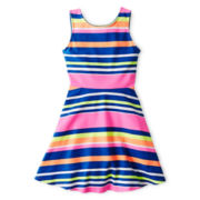 Total Girl® Striped Sleeveless Skater Dress - Girls 6-16 and Plus