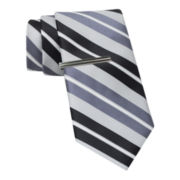 JF J. Ferrar® Boom Stripe Tie and Tie Bar Set - Slim