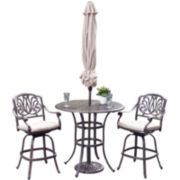 Floral Blossom Cast Aluminum 3-pc. Outdoor Bistro Set with Umbrella