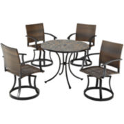 Stone Harbor 5-pc. Outdoor Dining Set with Newport Swivel Chairs