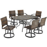 Stone Harbor 7-pc. Outdoor Dining Set with Newport Swivel Chairs