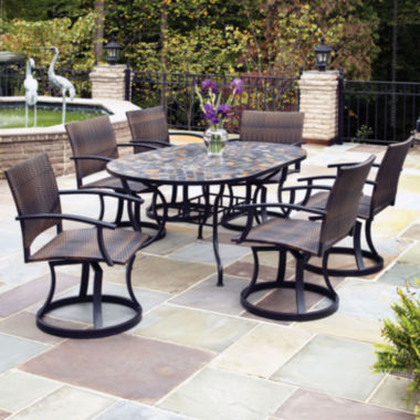jcpenney.com | Stone Harbor 7-pc. Outdoor Dining Set with Newport Swivel Chairs
