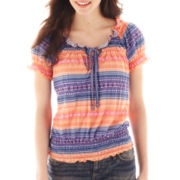Self Esteem® Knit Peasant Top