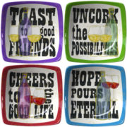 Thirstystone Toast to Good Friends Set of 4 Winers Appetizer Plates