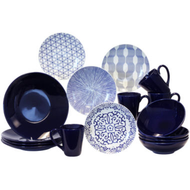 jcpenney.com | Baum Blue and White 16-pc. Dinnerware Set