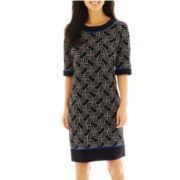 R&K Originals® Elbow-Sleeve Print Sheath Dress