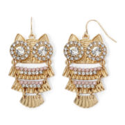 Decree® Pink and White Stone Gold-Tone Owl Drop Earrings