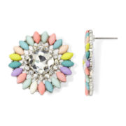 Decree® Multicolor Stone Silver-Tone Button Earrings