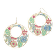 Decree® Floral Gold-Tone Drop Hoop Earrings