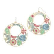Decree® Floral Gold-Tone Drop Hoop Earrings