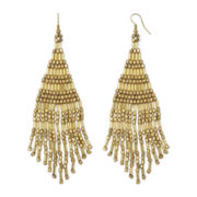 Decree® Gold-Tone Seedbead Large Teardrop Earrings