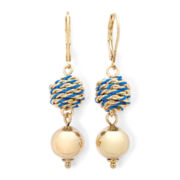 Monet® Blue Bead Gold-Tone Double-Drop Earrings