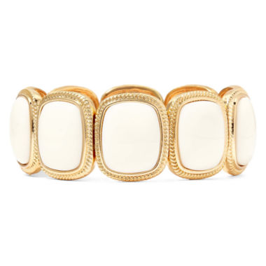 jcpenney.com | Monet® White Stone Gold-Tone Square Stretch Bracelet