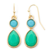 Liz Claiborne® Aqua Stone Gold-Tone Double-Drop Earrings