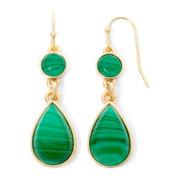 Liz Claiborne® Green Stone Gold-Tone Double-Drop Earrings