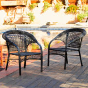 Set of 2 Wicker Fan Back Club Outdoor Chairs
