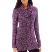 St. John's Bay® Long-Sleeve Sweater Tunic with Scarf - Tall