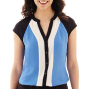 Worthington® Short-Sleeve Button-Front Colorblock Blouse