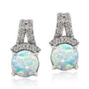 Silver Treasures™ Lab-Created Opal and White Topaz Drop Earrings