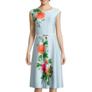 Danny & Nicole® Cap-Sleeve Floral Fit-and-Flare Dress