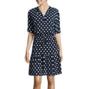 Danny & Nicole® Elbow-Sleeve Polka Dot Shirtdress
