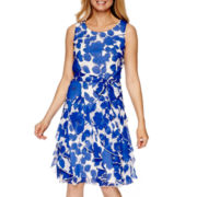Robbie Bee® Sleeveless Floral Chiffon A-Line Dress