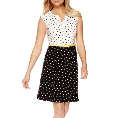jcpenney.com | Studio 1® Sleeveless Dot Print Fit-and-Flare Dress