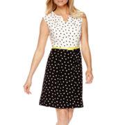 Studio 1® Sleeveless Dot Print Fit-and-Flare Dress